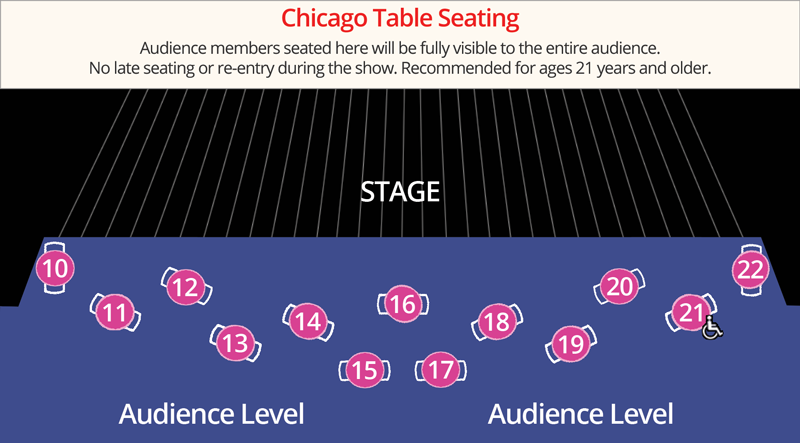 Map of Chicago table seats, right in front of the stage